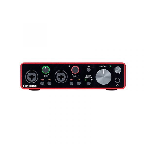 Interfaz de audio Focusrite Scarlett 2i2 frontal 2