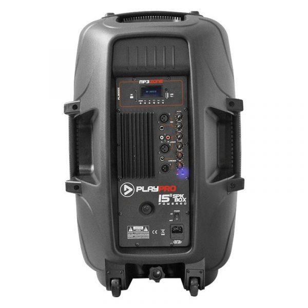 """Cabina activa PL3000X PlayPro de 15"""", con modulo mp3, amplificador clase AB y 300 WRMS"""