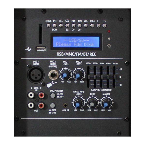 """Modulo mp3 de la cabina activa PRO1800BT AudioPro de 15"""" y 450WRMS."""