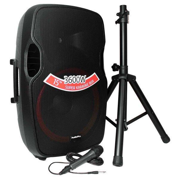 """Cabina activa PRO1800BT AudioPro de 15"""" y 450WRMS. con tripode y micrófono alambrico"""