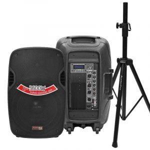 Cabinas activa y pasiva PRO1800X y PRO1800 con base Stand1 de AudioPro