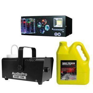 Kit Luz láser 6x3W RGBWAP LED NightSun SPG607 con Maquina de Humo BabyFog y Galón de liquido de Humo Smoke Premium AudioPro