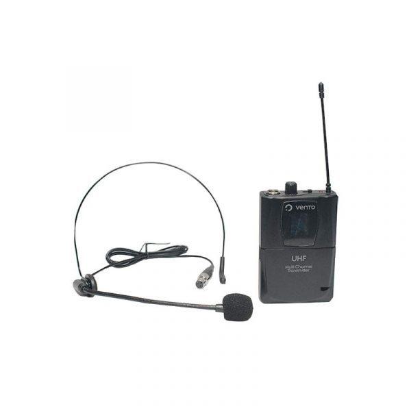 Micrófono de diadema color negro Heatset1 y Emisor UHF Bodypack4 transmisor multicanal negro Receiver Vento