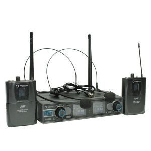 Micrófono Inalámbrico Doble Diadema Headset1 Negros con Doble Emisor Bodypack4 y Receptor WM332 UHF Vento