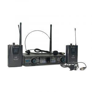 Micrófono inalámbrico tipo diadema color negro Heatset1 con Micrófono Inalámbrico de corbata Lavalier2 y Doble Emisor Bodypack4 con Receptor WM332 UHF Vento