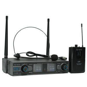 Micrófono inalámbrico tipo diadema color negro Heatset1 con Receptor estéreo WM332 Receiver con sistema diversity negro con control de volumen por canal y Emisor UHF Bodypack4 transmisor multicanal negro Vento