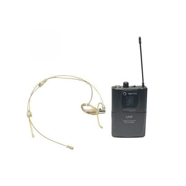Micrófono de diadema color piel Heatset4 y Emisor UHF Bodypack4 transmisor multicanal negro Receiver Vento