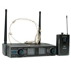 Micrófono inalámbrico tipo diadema color piel Heatset4 con Receptor estéreo WM332 con sistema diversity negro con control de volumen por canal y Emisor UHF Bodypack4 transmisor multicanal negro Vento Receiver