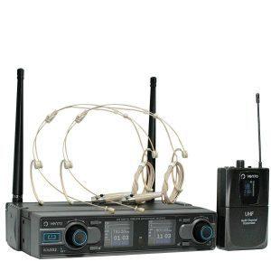 Micrófono Inalámbrico Doble Diadema Headset4 Color piel con Doble Emisor Bodypack4 y Receptor WM332 UHF Vento