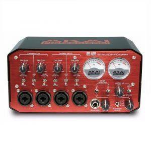 Interfaz de audio AKAI EIE Roja profesional 4 canales con preamplificadores, vumetros y controles de ganancia
