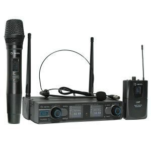 Micrófono inalámbrico de mano MH29 con Micrófono Inalámbrico Diadema Headset1 color negro y Emisor Bodypack4 con Receptor WM332 UHF Vento