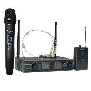 Micrófono inalámbrico de mano MH29 con Micrófono Inalámbrico Diadema Headset4 color piel y Emisor Bodypack4 con Receptor WM332 UHF Vento