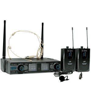 Micrófono inalámbrico tipo diadema color piel Heatset4 con Micrófono Inalámbrico de corbata Lavalier2 y Doble Emisor Bodypack4 con Receptor WM332 UHF Vento