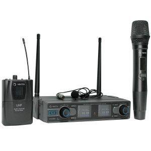 Micrófono inalámbrico de mano MH29 con Micrófono Inalámbrico de corbata Lavalier2 y Emisor Bodypack4 con Receptor WM332 UHF Vento
