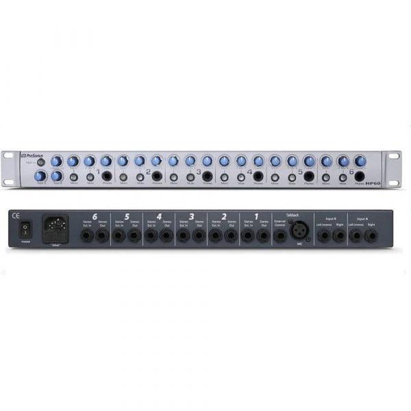 Sistema de mezcla y amplificación de audífonos Presonus HP60 Profesional 6 canales
