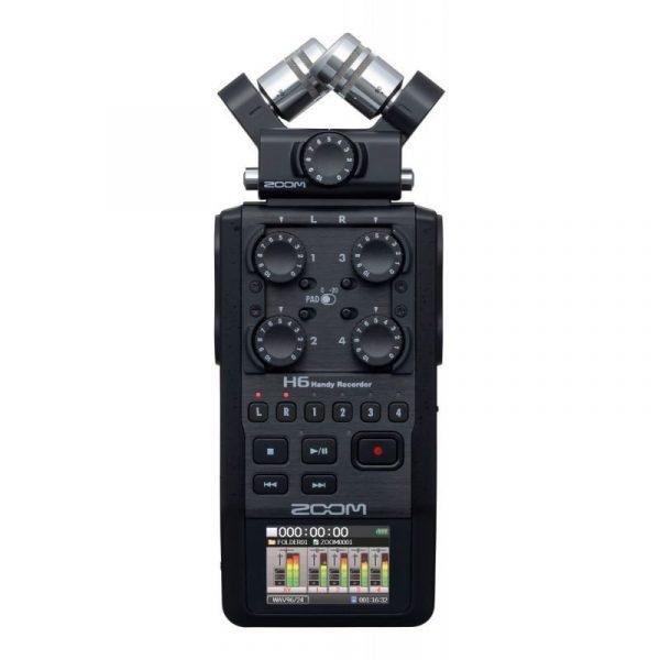Grabadora de audio portátil Zoom H6 profesional 6 canales con preamplificadores, monitoreo y grabación técnicas surround
