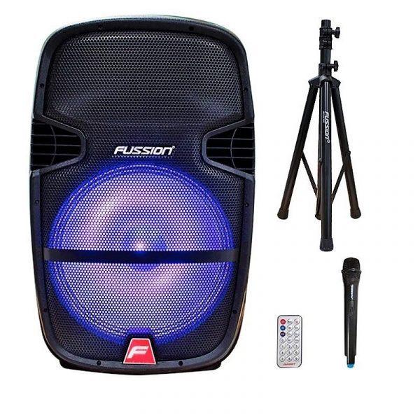 """Cabina activa recargable 15"""" BPS9945BK Fussion con microfono inalambrico, control remoto y tripode, con luces led y modulo reproductor MP3"""