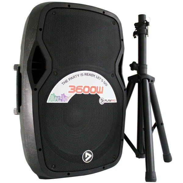 "Bafle Activo Plástico de 15"" Bluetooth PlayPro PL3600X-V2 con tripode cabina 3600w"
