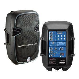 Cabina activa recargable con cabina pasiva ACOMBO8ABFM con microfono alambrico, control remoto y cable de conexion entre cabinas, ademas cuenta con modulo MP3 de AudioBahn