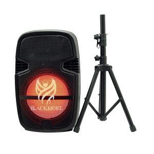 "Cabina activa recargable 15"" BJS195BT Blackmore con microfono alambrico, control remoto y tripode, con luces led y modulo reproductor MP3"