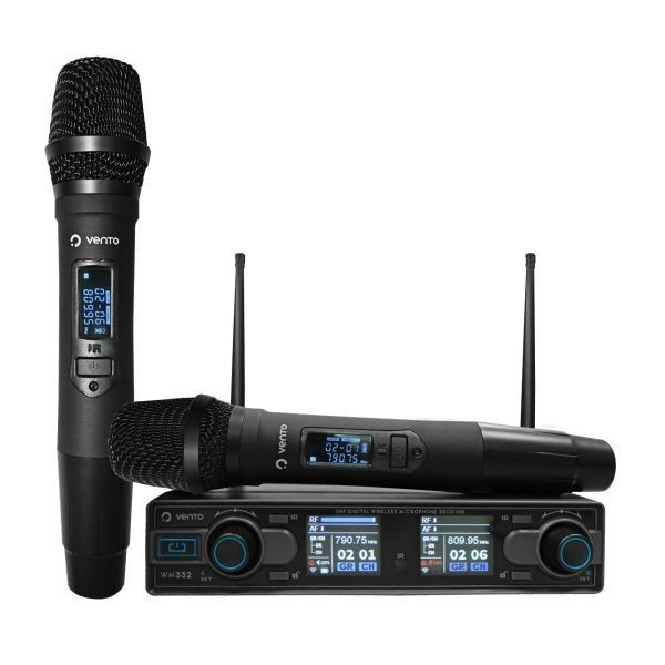 Micrófono Inalámbrico Doble de Mano MH29 con Receptor WM332 UHF Vento 2 Canales Dual Estéreo Negros