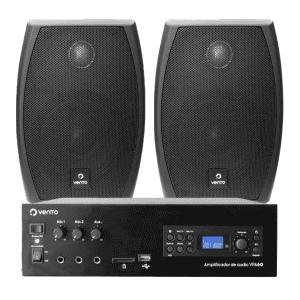 Combo Amplificador de linea VPA600 para 4 zonas y 600W Vento con par de parlantes DK4 negros Vento y cable de 10 metros 2x12 desoxigenado.