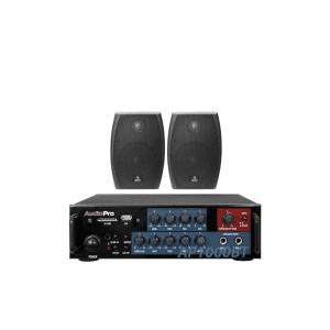 """Combo Bafles ambientales DK4 Vento de 4"""" negros con transformador y soportes con amplificador estereo AP1000 AudioPro y cable desoxigenado de 10m 2x12"""