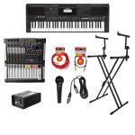 Combo perfecto para músicos o para los que desean ser músicos, teclado Yamaha PSR E463 con base AP14, caja directa PRO100, cables WORK1XLR Y WORK5PLUG, con micrófono UM200 y MIX8FX-II