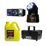KIT Rumba Amigos En Casa SPG607 NightSun, Cabeza Móvil SPB 305 con Maquina de Humo BabyFog y Galon de Humo AudioPro
