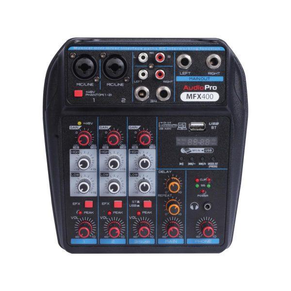 Consola Mixer con Interfaz USB AudioPro MFX400 Vista Superior